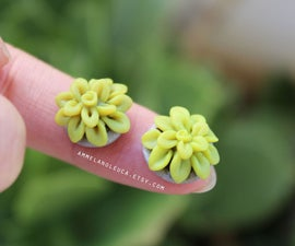 Mini Succulent Stud Earrings