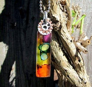 Altered Glass Tile Pendant Necklace - Ink Dyed Steampunk