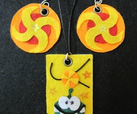 Funky Om Nom Nom Pendant with Candy Earring