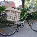 Burlap sack for bicycle basket