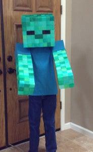 "Easy ""No Sew"" Soft Minecraft Zombie Costume."