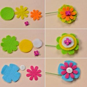 Make Another Three Felt Flowers