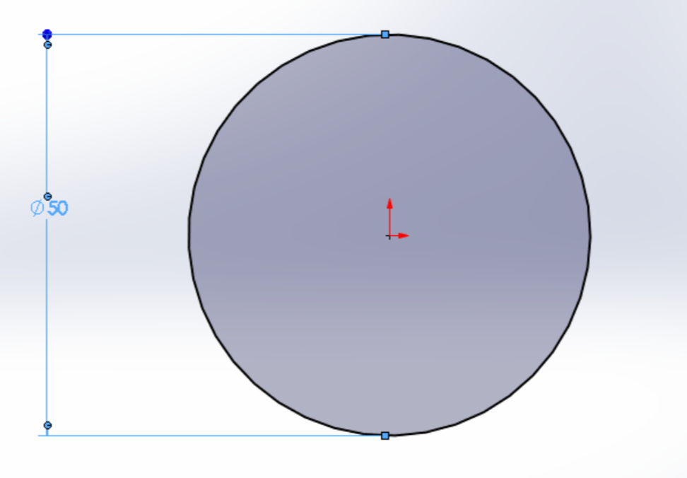 Picture of Open Up the Sketch Tab and Draw a 50mm Diameter Circle in the Center