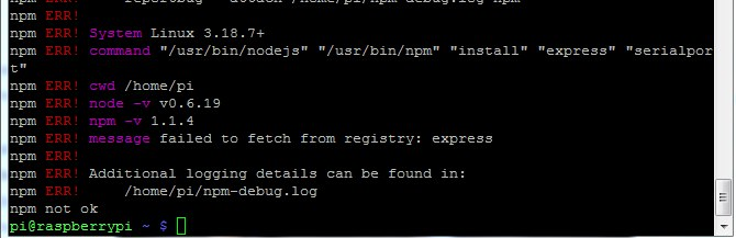 Picture of Express failed to fetch from registry in npm and node.js ?
