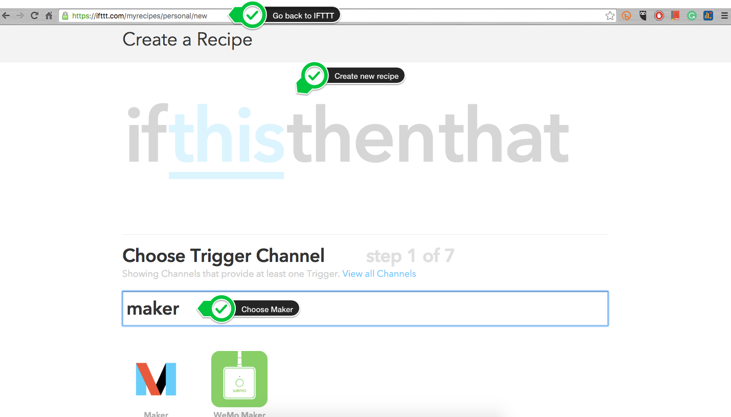 Picture of Go Back to IFTTT and Create a New Recipe