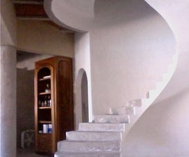Floating circular concrete staircase