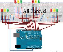 Traffic light 4 way. Using arduino uno