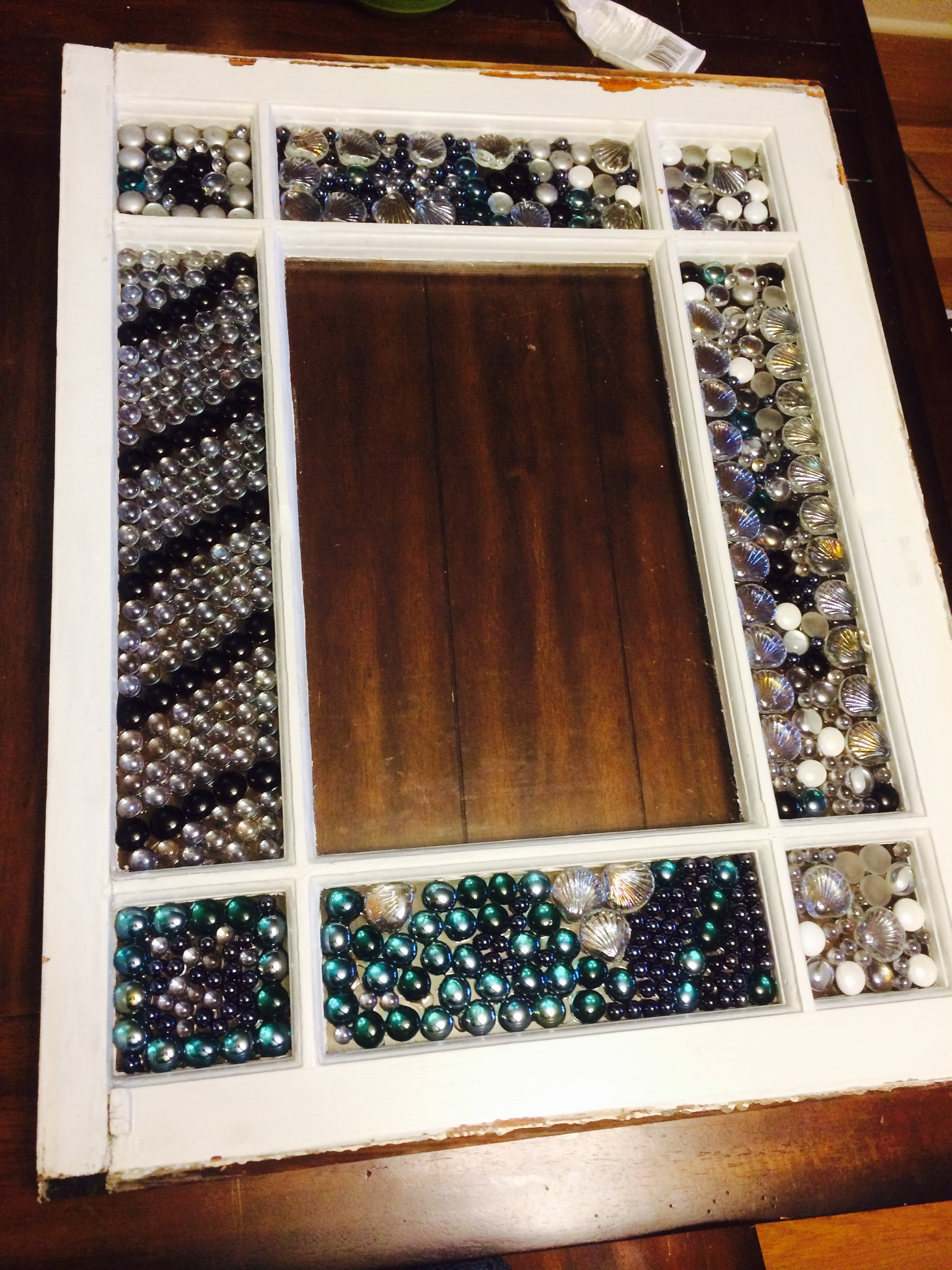 Picture of Glue Mosaic Pieces Onto Old Window Panes
