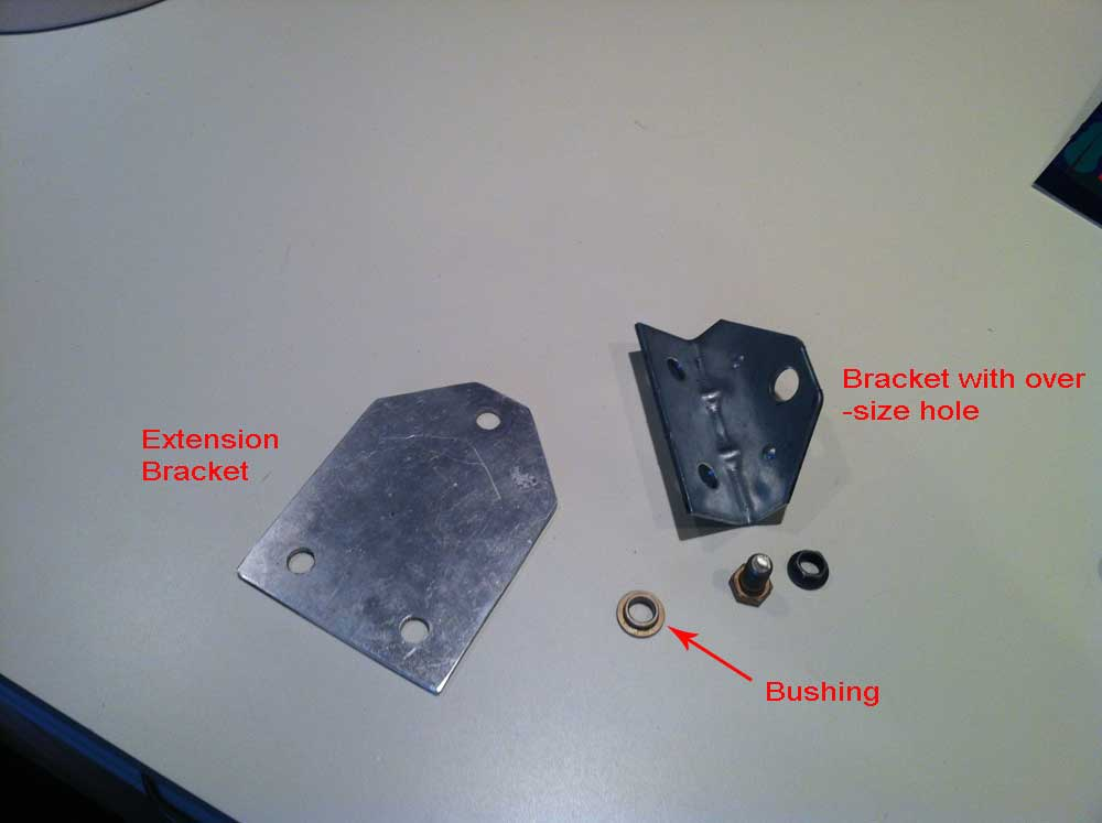 Picture of The Original Bracket and Our Extension Attached to Each Other.