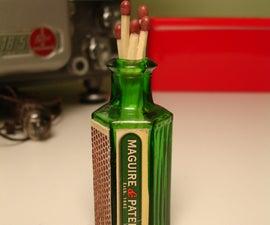 Glass Bottle Match Holder and Strike