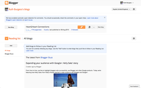 Find Your Blog Title and Click the Orange Pencil Button