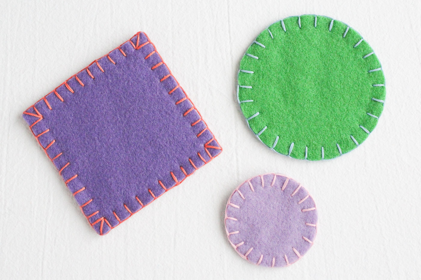 Sewing Blanket Stitch Coasters