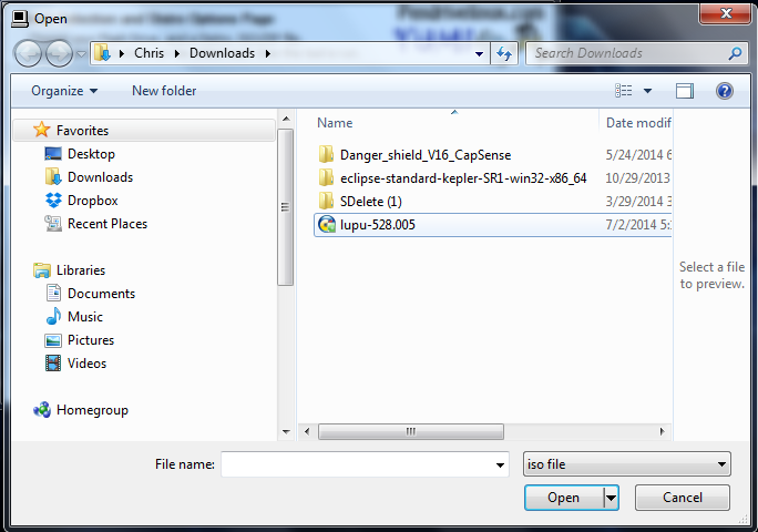 Picture of Download and Select the .ISO