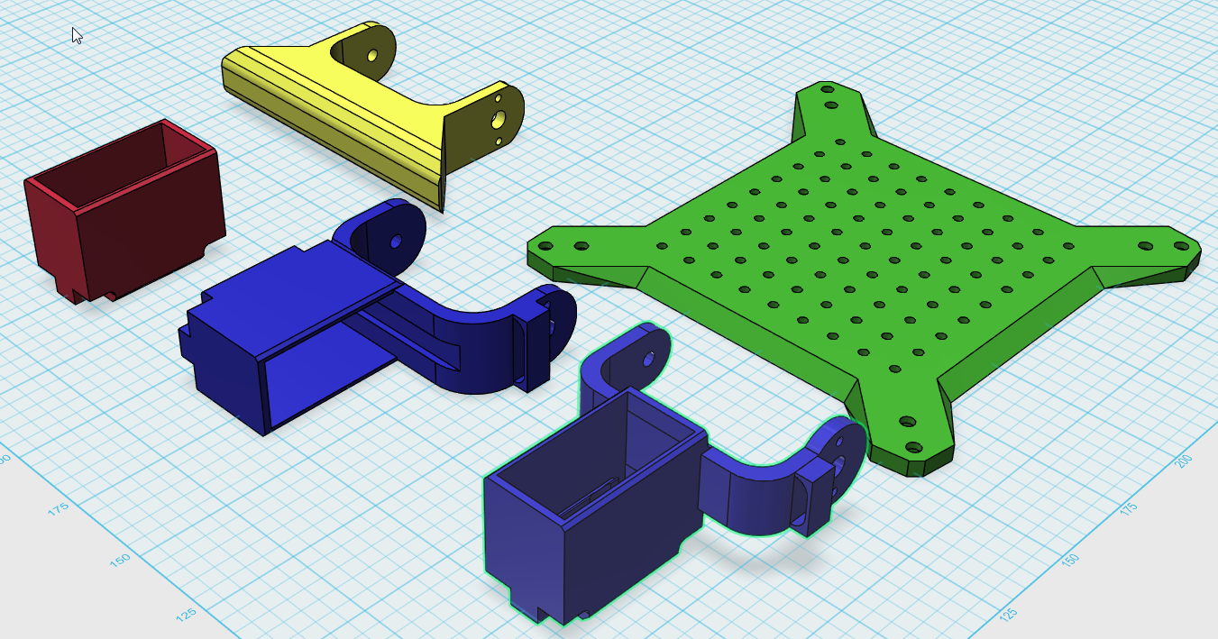 Picture of Design, Print and Assembling of Carrierplate, Servo Holders and Foots
