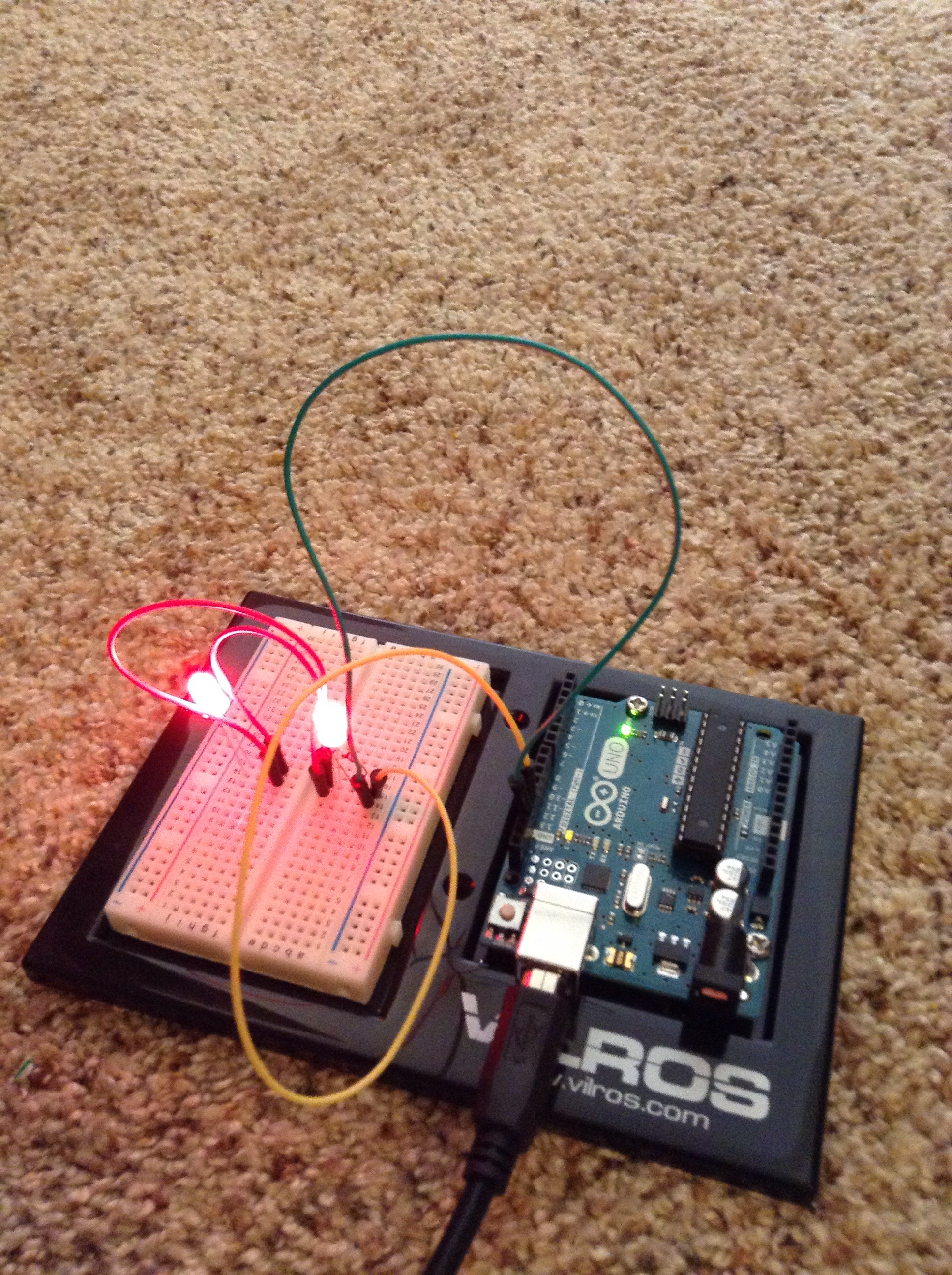 Picture of How to Make Two Blinking LED Eyes With Your Arduino Uno