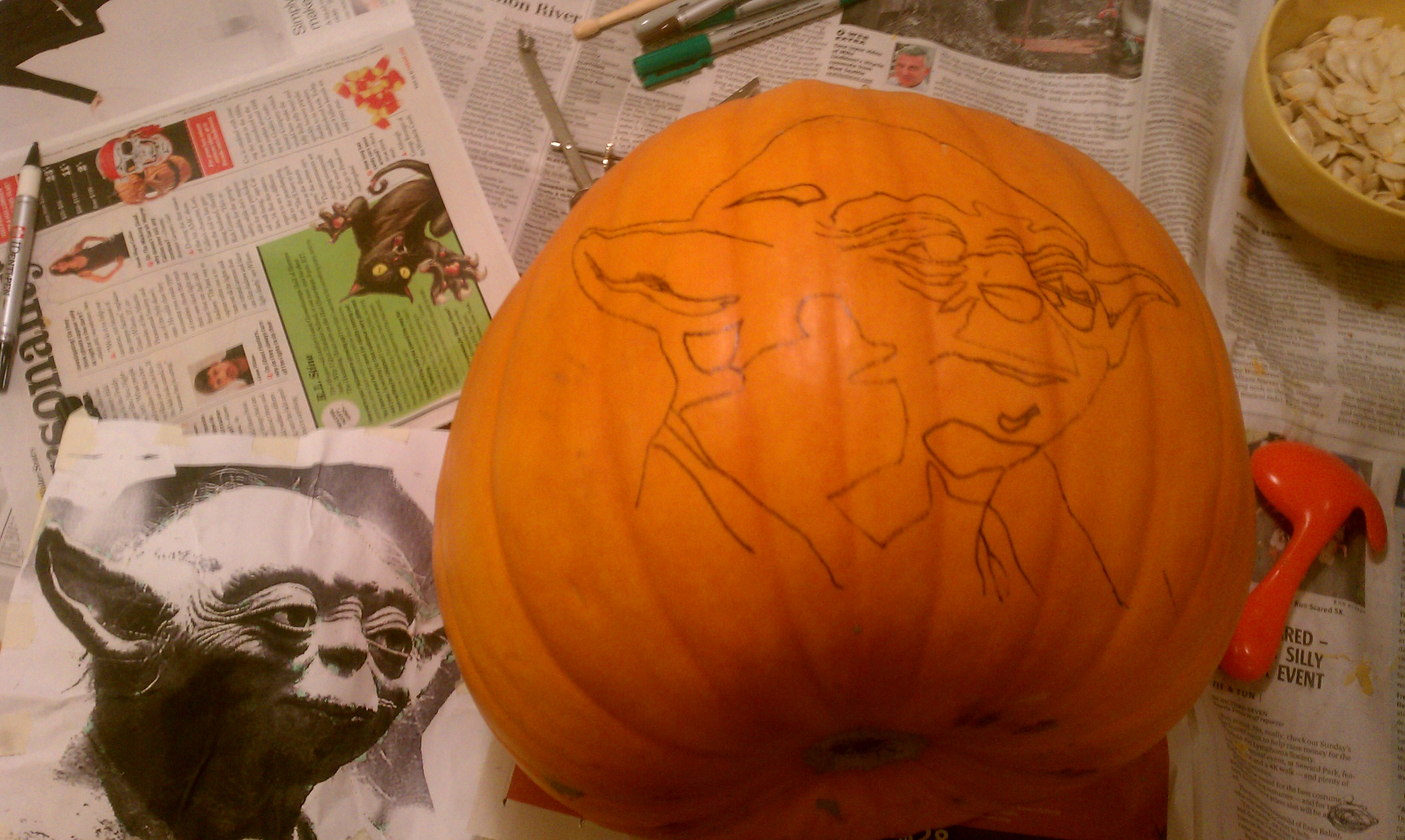Picture of Transpumpfer the Image Onto the Pumpkin