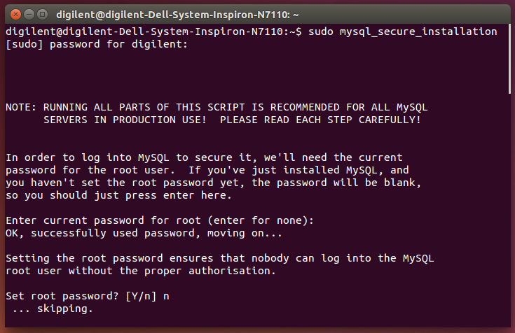 Picture of MySQL Secure Installation