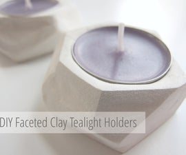 Geometric Faceted Clay Tea Light Holders.