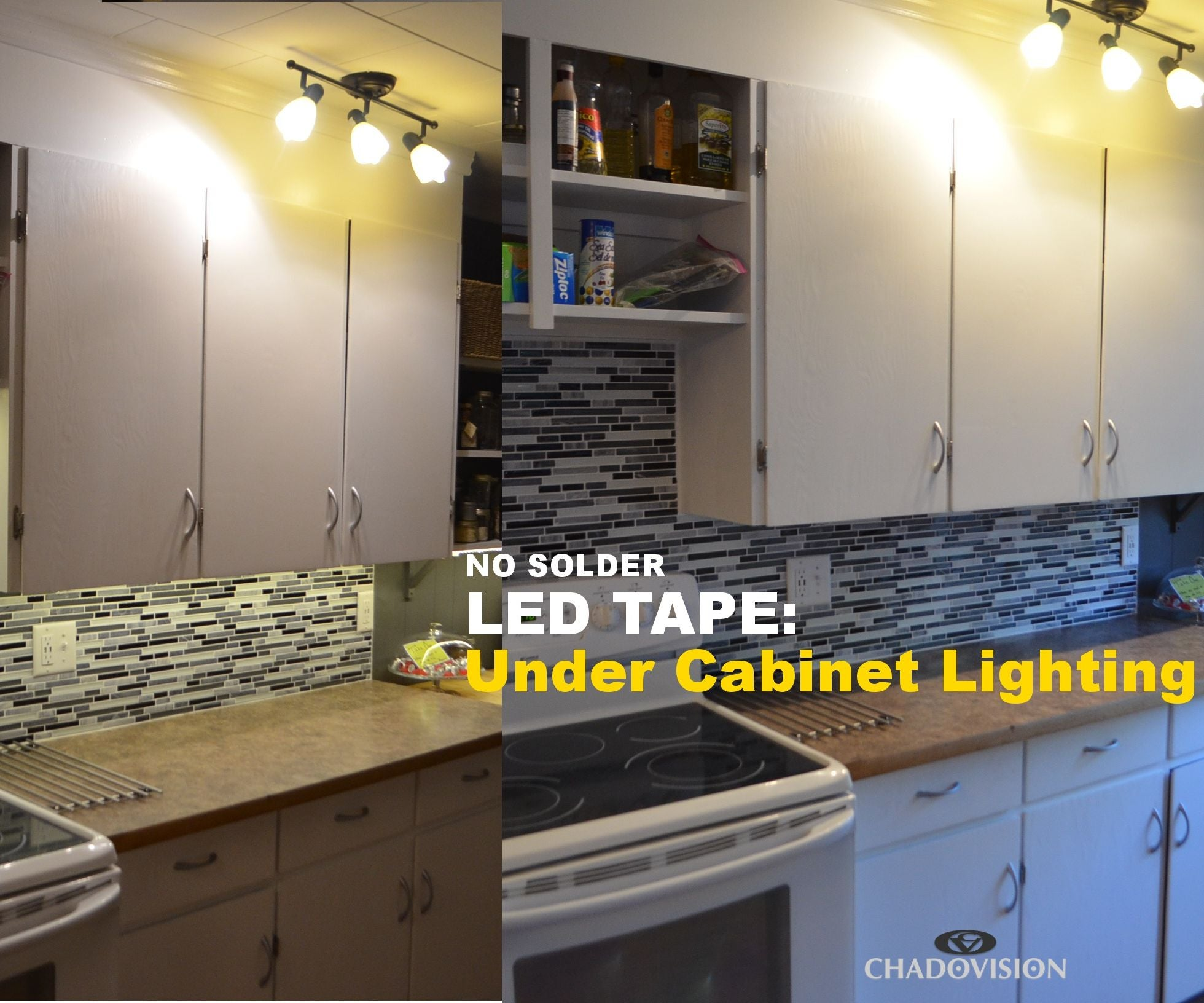 Led Tape Under Cabinet Lighting No Soldering 9 Steps With Wiring 5a Sockets Pictures