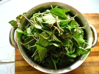 Chop Green Amaranth Leaves
