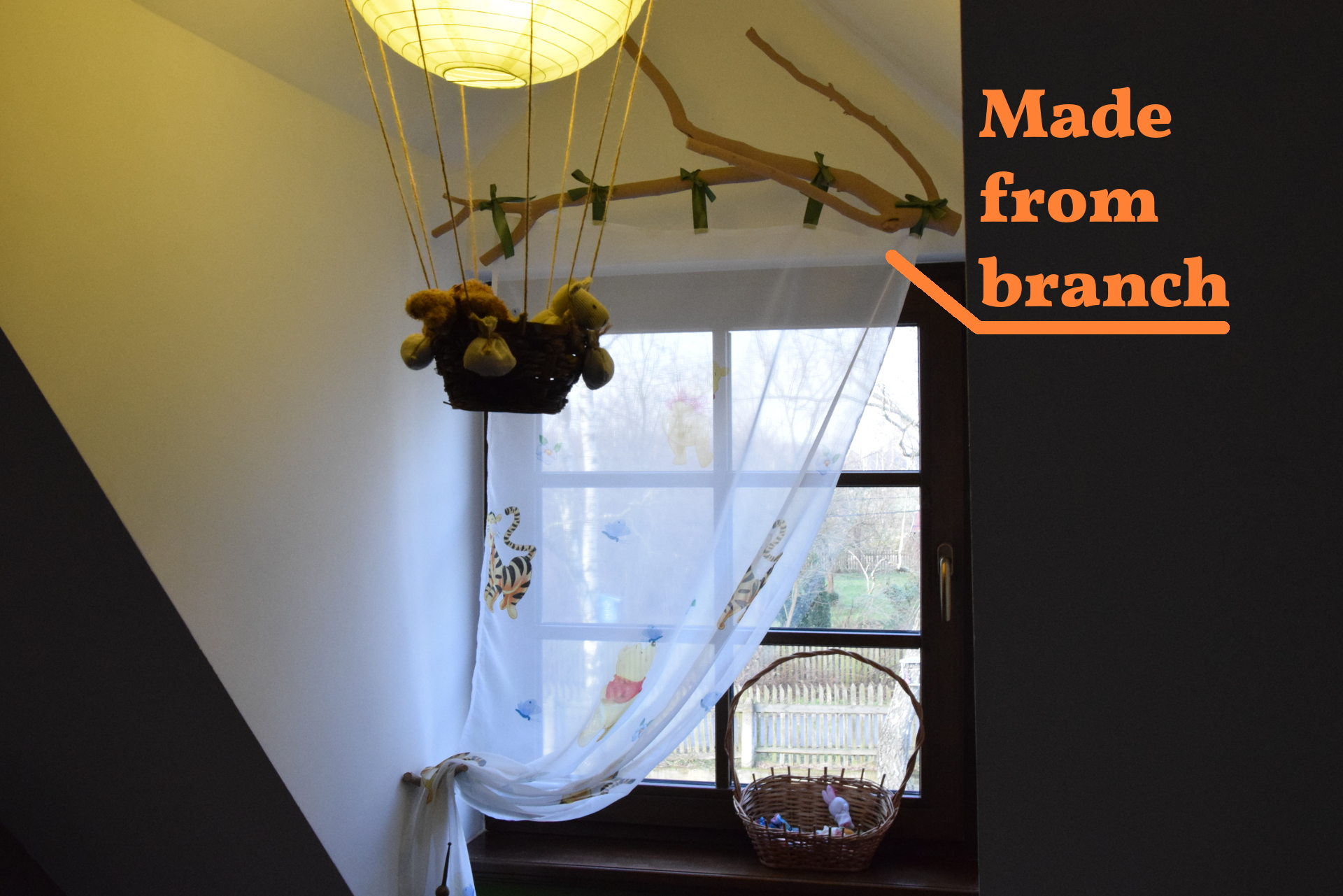 Picture of Natural Curtain Rods Made From Branches. How to Make and How to Hang.