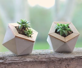 Geometric Concrete Planters Made With Paper Molds