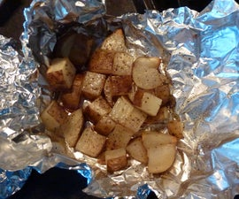 Campfire (or oven) Potatoes- Cubed potatoes in a bath of butter, salt, and pepper