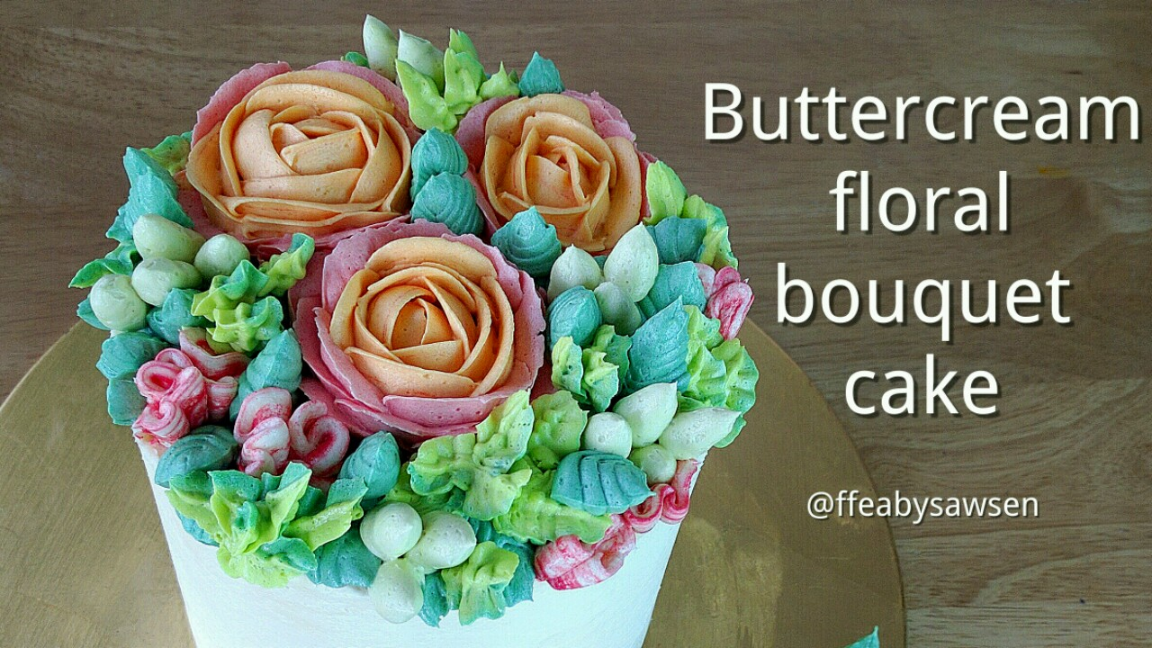 Picture of How to Pipe a Buttercream Flower Bouquet Cake - With Roses, Parrot Tulips, Carnations & Hypericum Berries