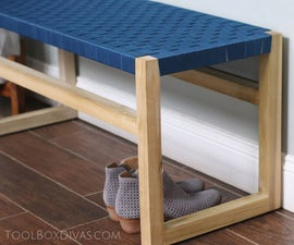 Modern Bench With Woven Fabric Seat