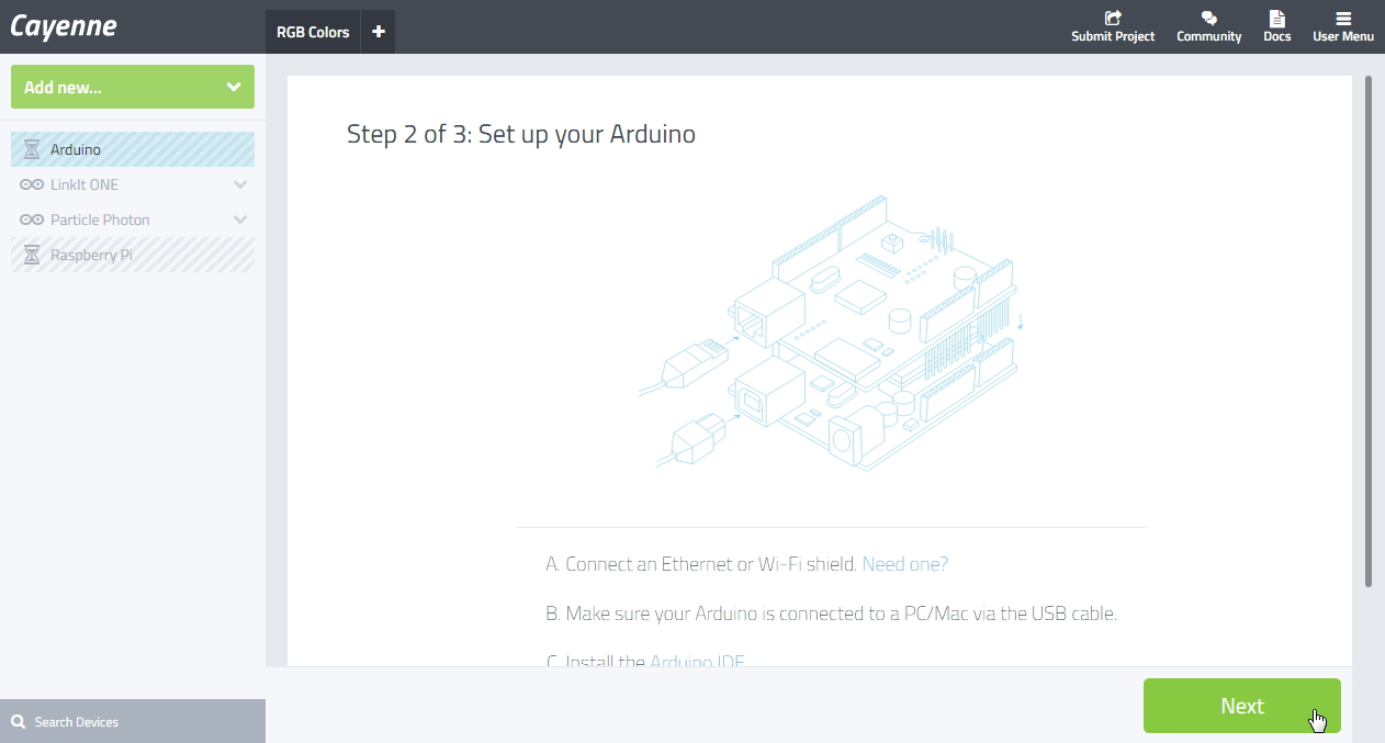 Picture of Create New Device on Cayenne (select Arduino Yun)    PreviousNext 1 2 3