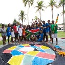 Giant Water Colour Flags   workshop experience