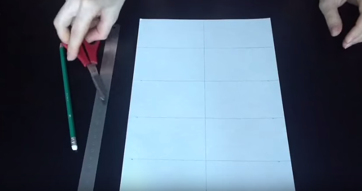 Picture of Cut White Card Stock Into Equal Rectangles