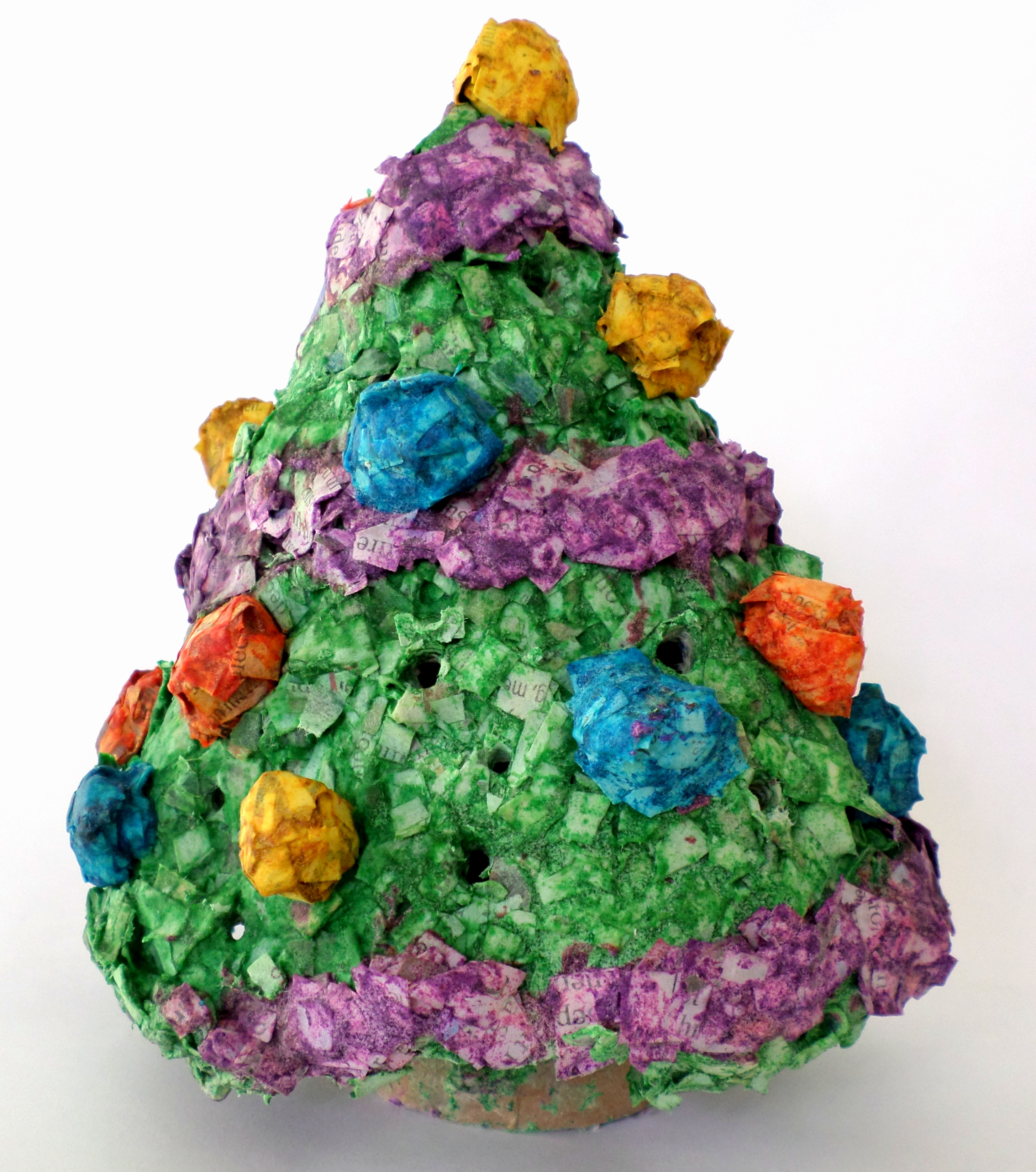 Picture of Mini Paper Mache Light-Up Christmas Tree