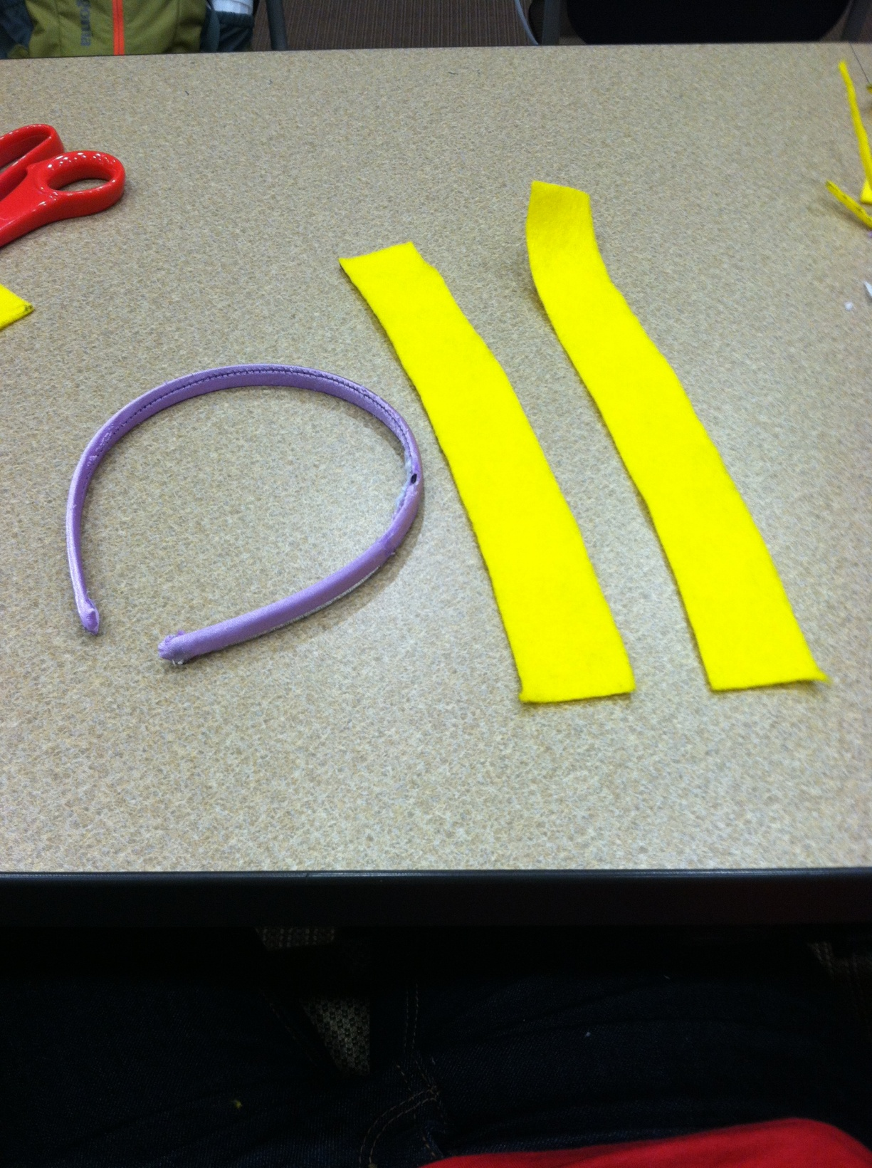 Picture of Cut Out Two Strips of Yellow Felt