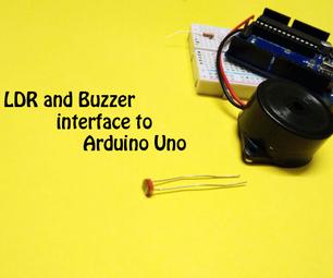 LDR and Buzzer Interface to Arduino Uno