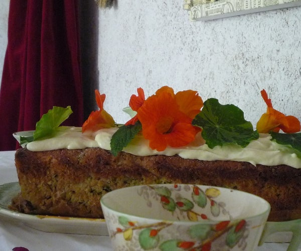 Organic Courgette Zucchini  Cake Recipe With Raw Cream Chantilly and Nasturtiums