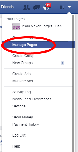Picture of Select the Manage Pages Option.