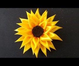 DIY For Girls : How To Make Kanzashi Satin Ribbon Sunflower