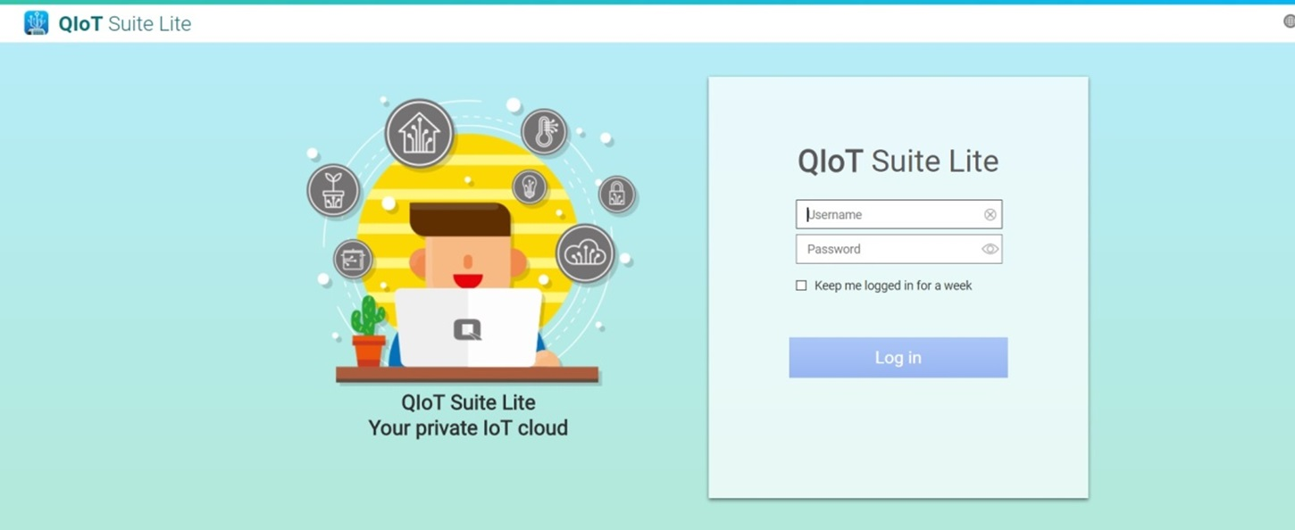 """Picture of Launch and Log in QIoT Suite Lite. the Default Username and Password Is """"admin""""."""