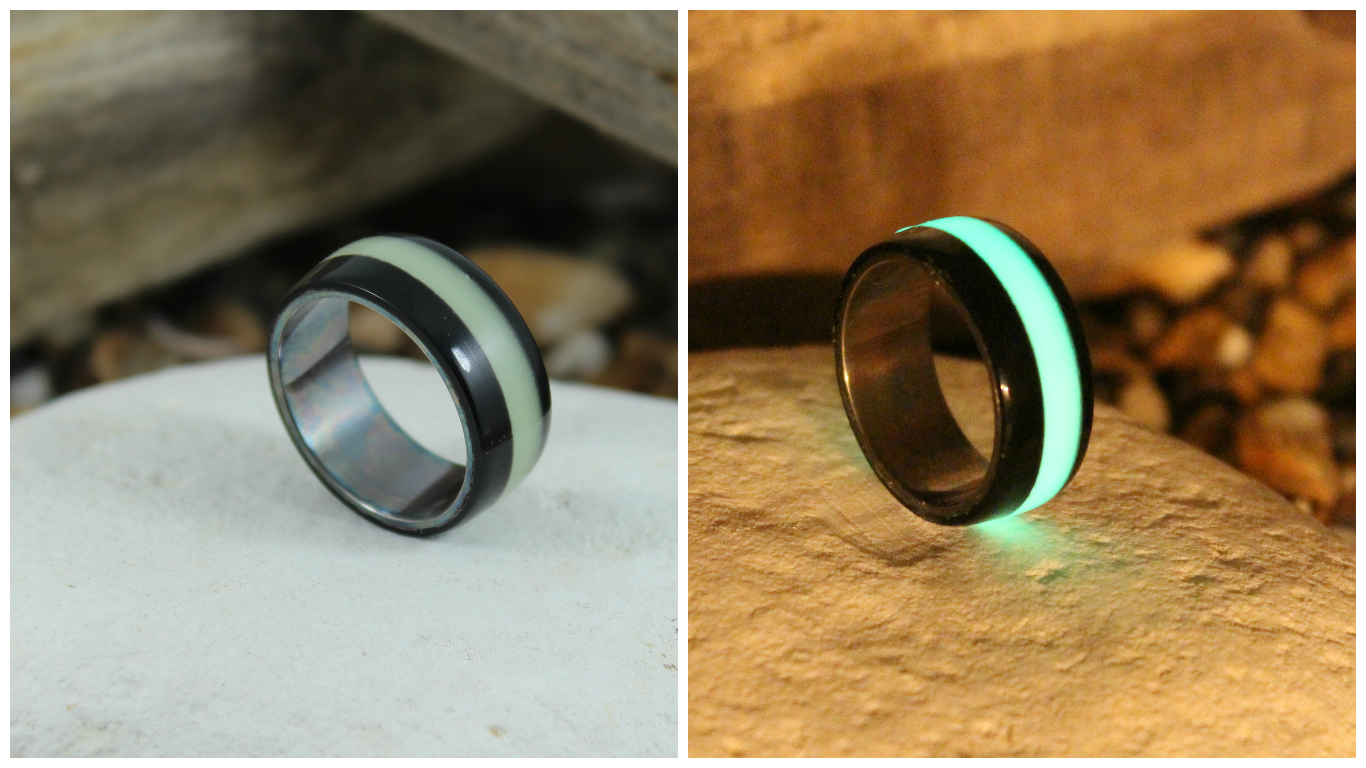 Picture of Making a Death Trooper Ring - Silver Ring With Green Glow & Black Corian