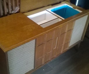 Old Record Player Coverted to a Minibar