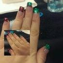Glitter Christmas Acrylic Nails