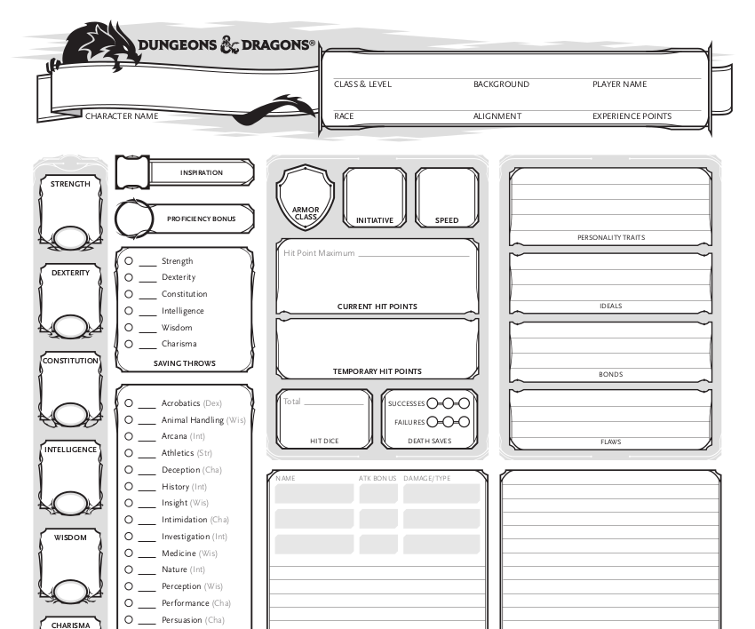 D D 5e Character Sheet Double Sided Printable