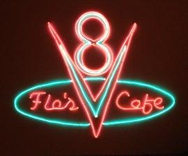 Flo's V8 Cafe sign