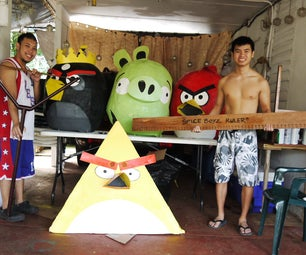 Paper Mache Angry Birds Costume!
