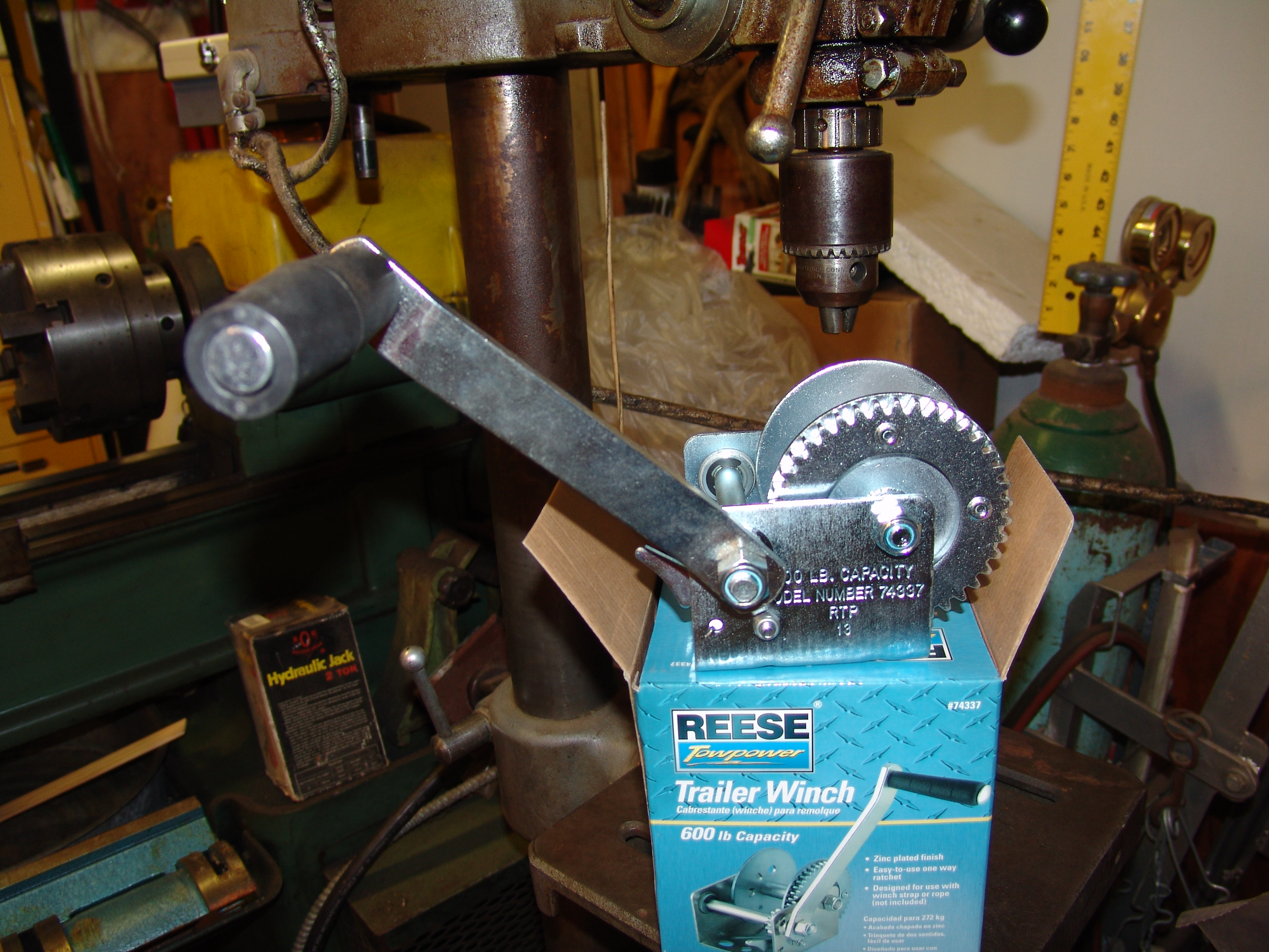 Picture of Using a Winch to Raise & Lower a Drill Press Table