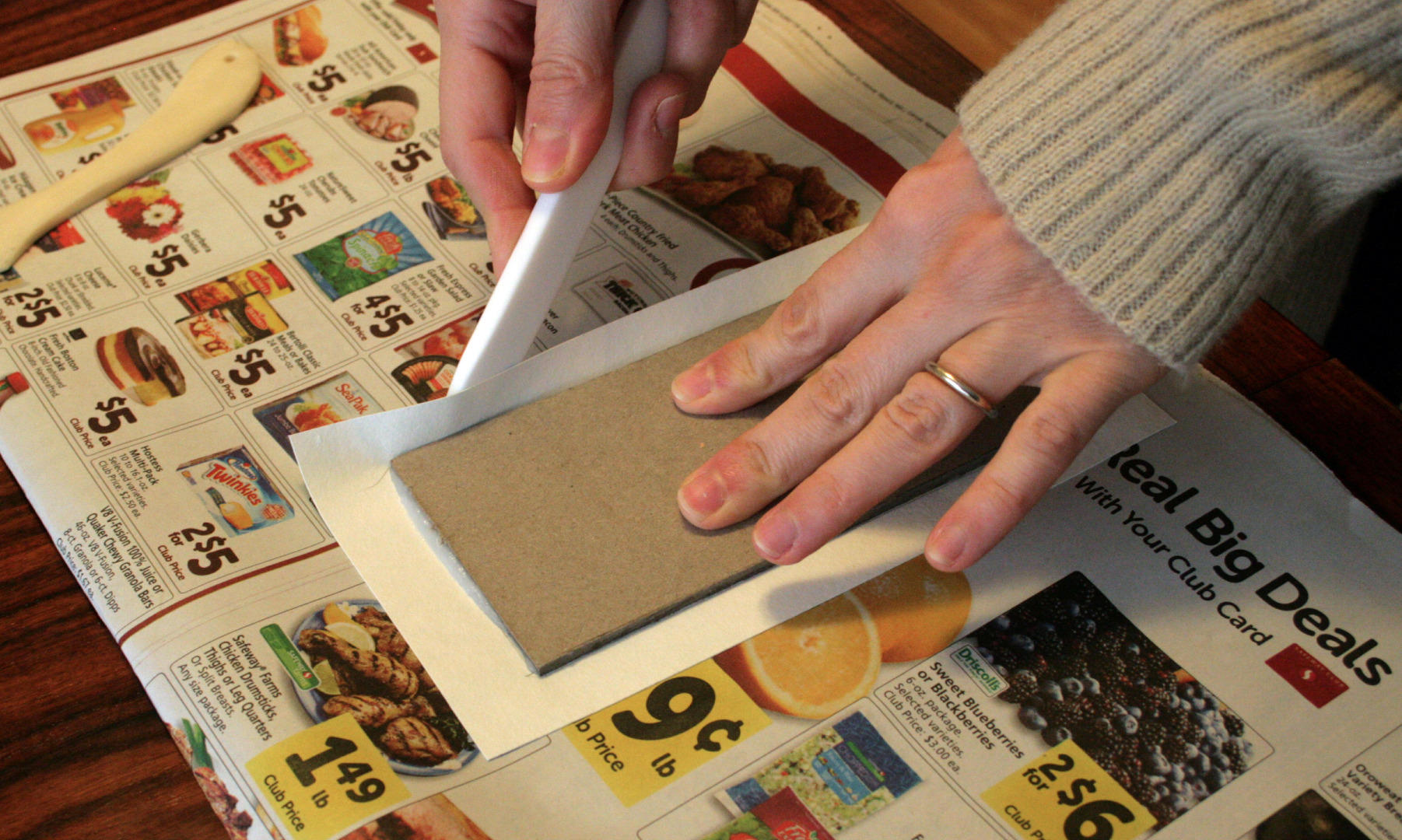 Picture of Step 11: Crease Paper and Trim Cover Paper Corners