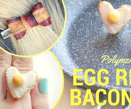 DIY BACON BOW and EGG RING/Polymer Clay Tutorial/Breakfast Accessories :P