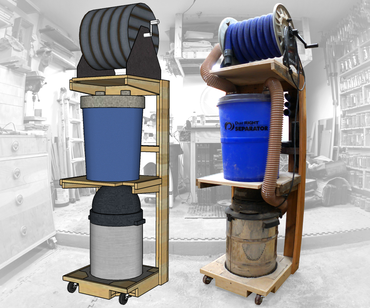 Space Saving Shop-Vac Dust Collector Cart: 11 Steps (with
