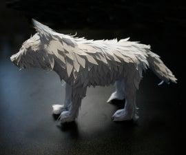 Paper Fantasy Wolf Sculpture